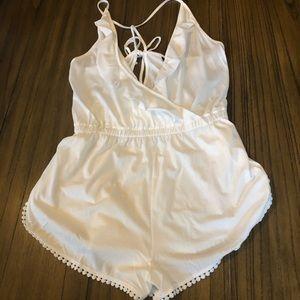 TOPSHOP white frill wrap playsuit romper coverup